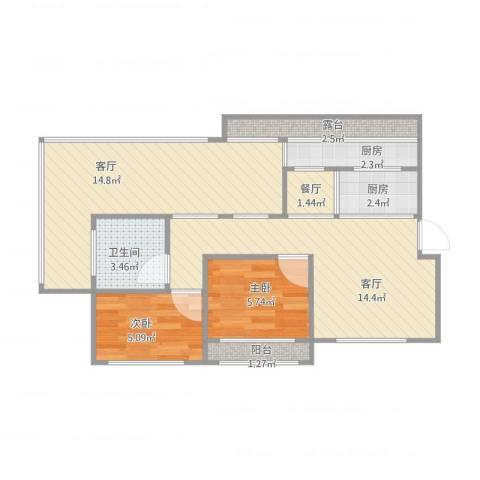 帝欧花园22-2-6022室3厅1卫2厨75.00㎡户型图
