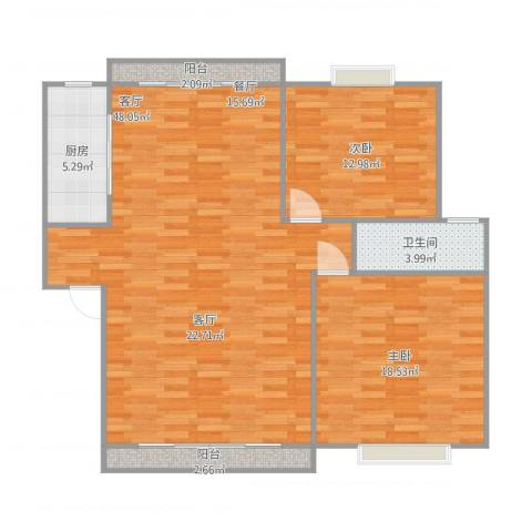 嘉城雅颂湾2室1厅1卫1厨125.00㎡户型图