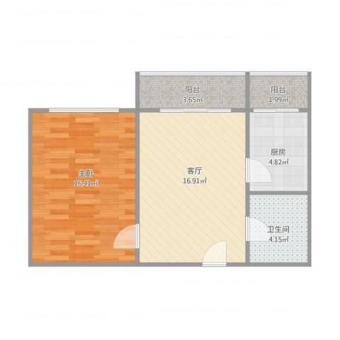普天东里1室1厅1卫1厨65.00㎡户型图