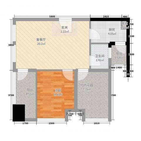 天祺佰潮汇1室1厅1卫1厨1165.00㎡户型图