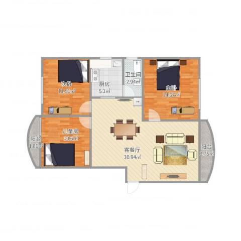 俊雅苑3室1厅1卫1厨108.00㎡户型图