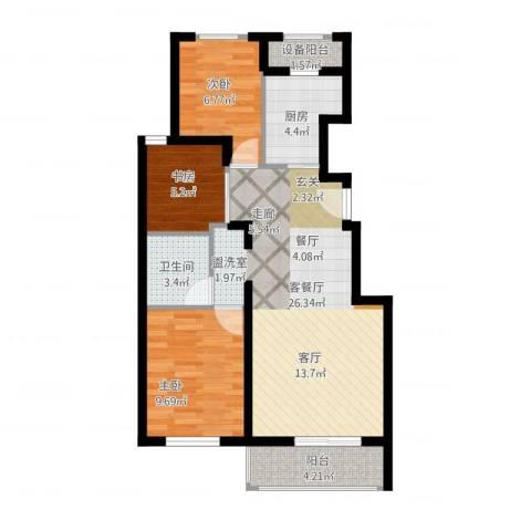 首开・缇香郡3室1厅1卫1厨89.00㎡户型图