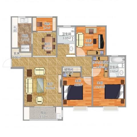 远香舫4室2厅2卫1厨131.00㎡户型图