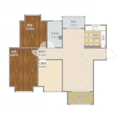 弘阳上城3室1厅1卫1厨121.00㎡户型图