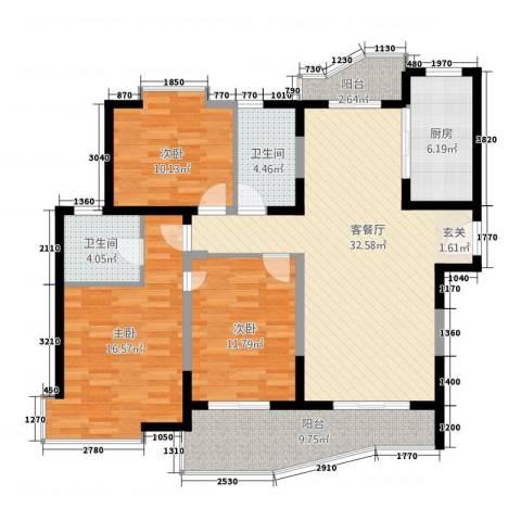 虹叶茗园3室1厅2卫1厨140.00㎡户型图