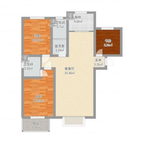 银畔丽苑3室1厅2卫1厨114.00㎡户型图