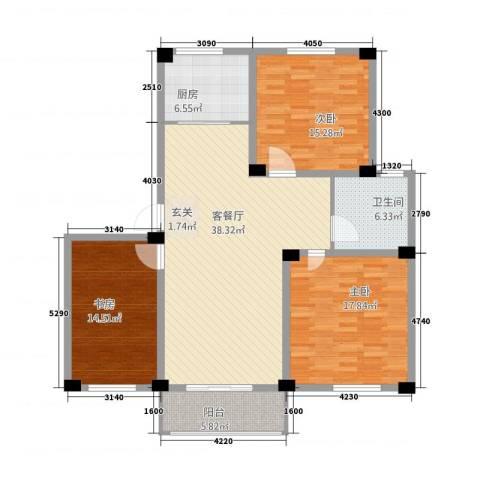 福达园3室1厅1卫1厨23217.00㎡户型图