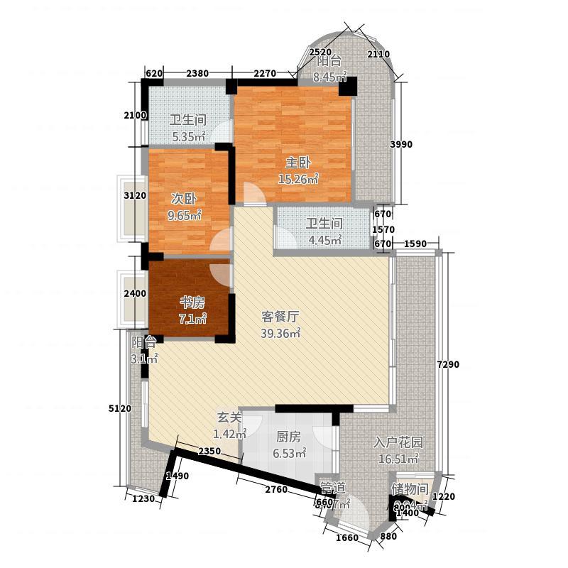 伟达雅郡13.45㎡B-1慧雅居户型3室2厅2卫1厨