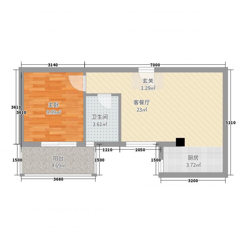 蔚兰天成国际公馆56.80㎡D户型1室2厅1卫1厨