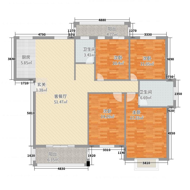顺邦香格里花园14142.20㎡户型4室2厅2卫1厨