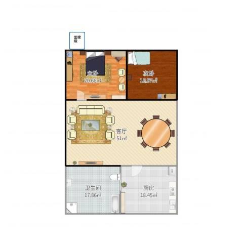 航华四村2室1厅1卫1厨164.00㎡户型图
