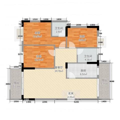 智富华轩3室1厅2卫1厨127.00㎡户型图