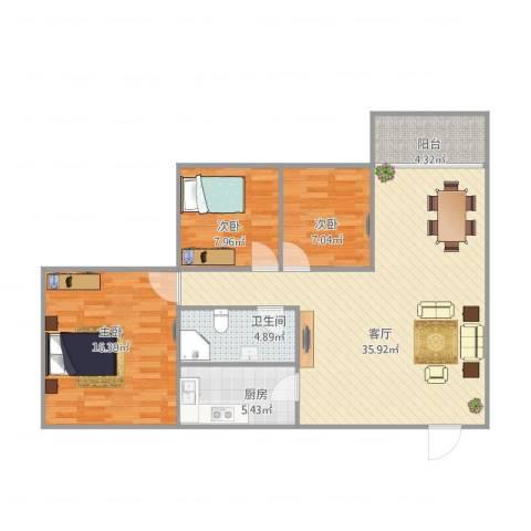 河畔花园156013室1厅1卫1厨110.00㎡户型图