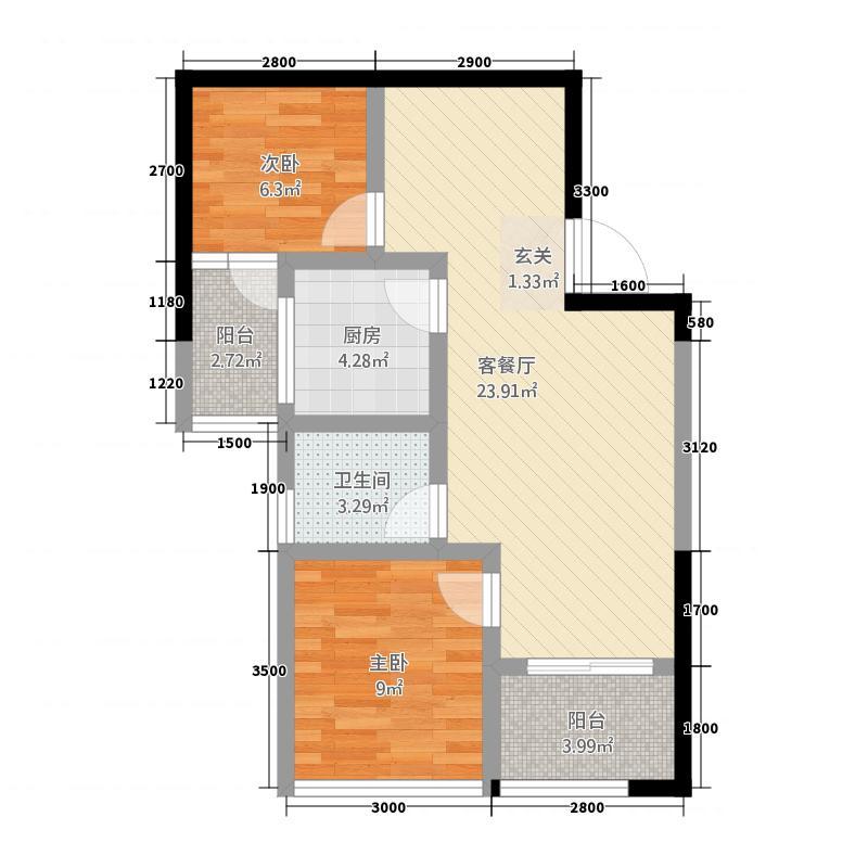 瑞鼎城2271.32㎡J户型2室2厅2卫1厨
