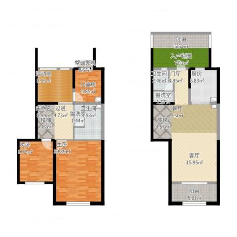 天朗蔚蓝东庭3室2厅2卫1厨174.00㎡户型图