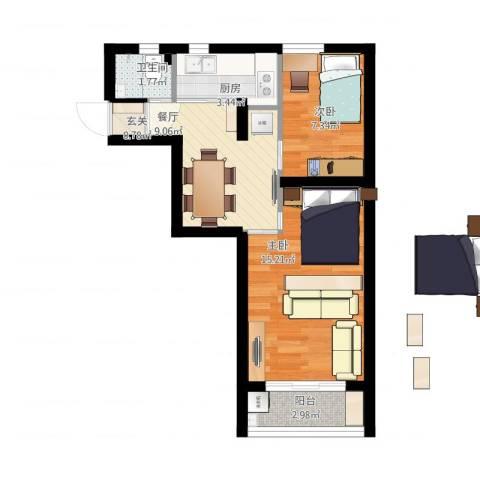 上钢一村2室1厅1卫1厨61.00㎡户型图
