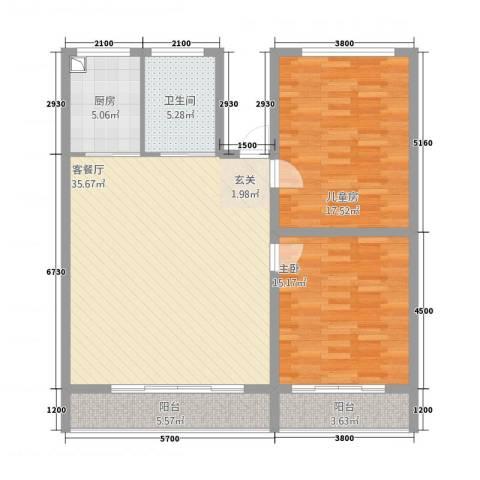 永济路东危旧改造2室1厅1卫1厨123.00㎡户型图