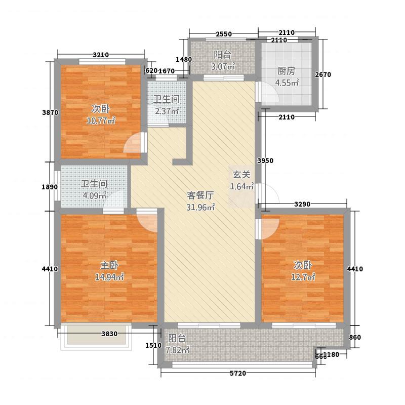 嘉亿东湖花园133.20㎡E户型3室2厅2卫1厨