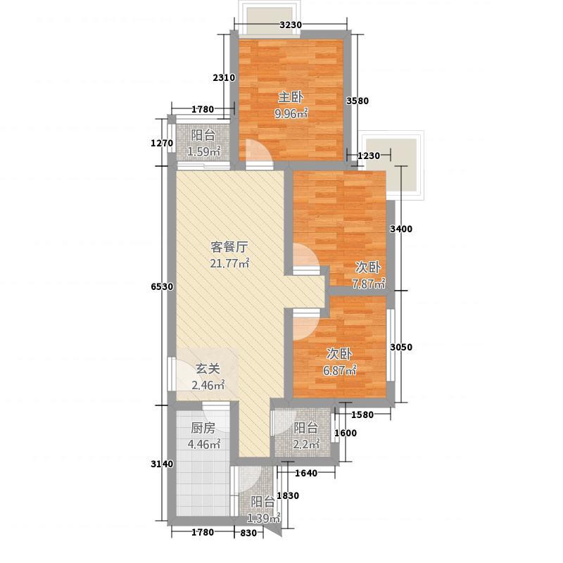 西溪・金港湾82.50㎡A4户型3室2厅1卫1厨