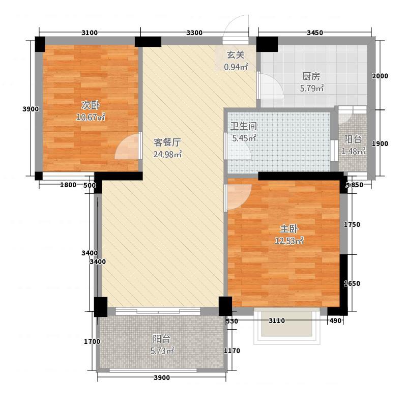 赛达康城86.77㎡B1户型2室2厅1卫1厨