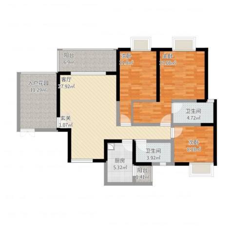 锐力领峰3室1厅2卫1厨143.00㎡户型图