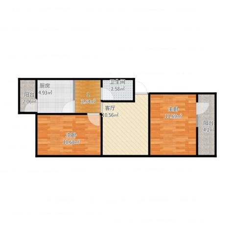 西井四区2室1厅1卫1厨69.00㎡户型图