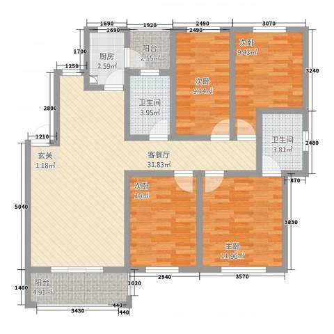 江南春天4室1厅2卫1厨132.00㎡户型图