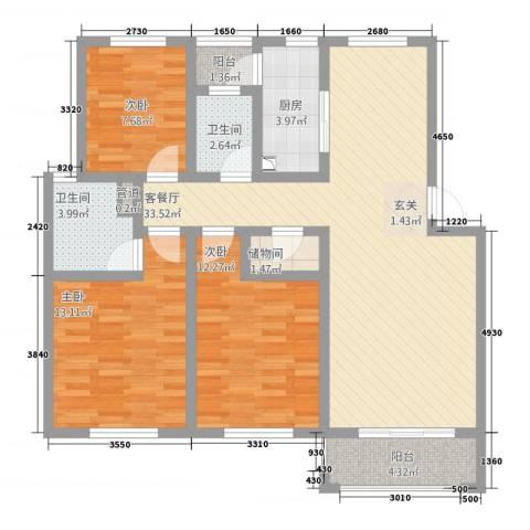 江南春天3室1厅2卫1厨125.00㎡户型图
