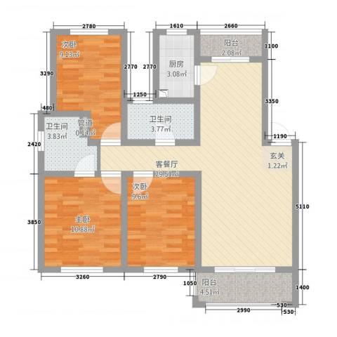 江南春天3室1厅2卫1厨113.00㎡户型图