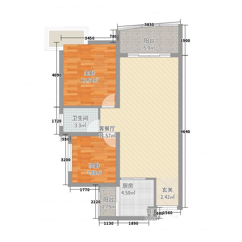 置盛西苑A、B栋A、B户型2室2厅1卫1厨