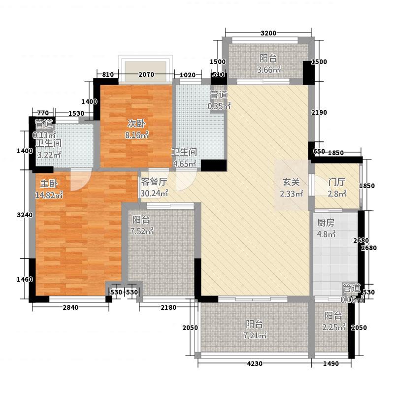 沃华・时代广场1.30㎡1幢01户型3室2厅2卫1厨