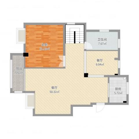 海韵嘉园1室2厅1卫1厨140.00㎡户型图
