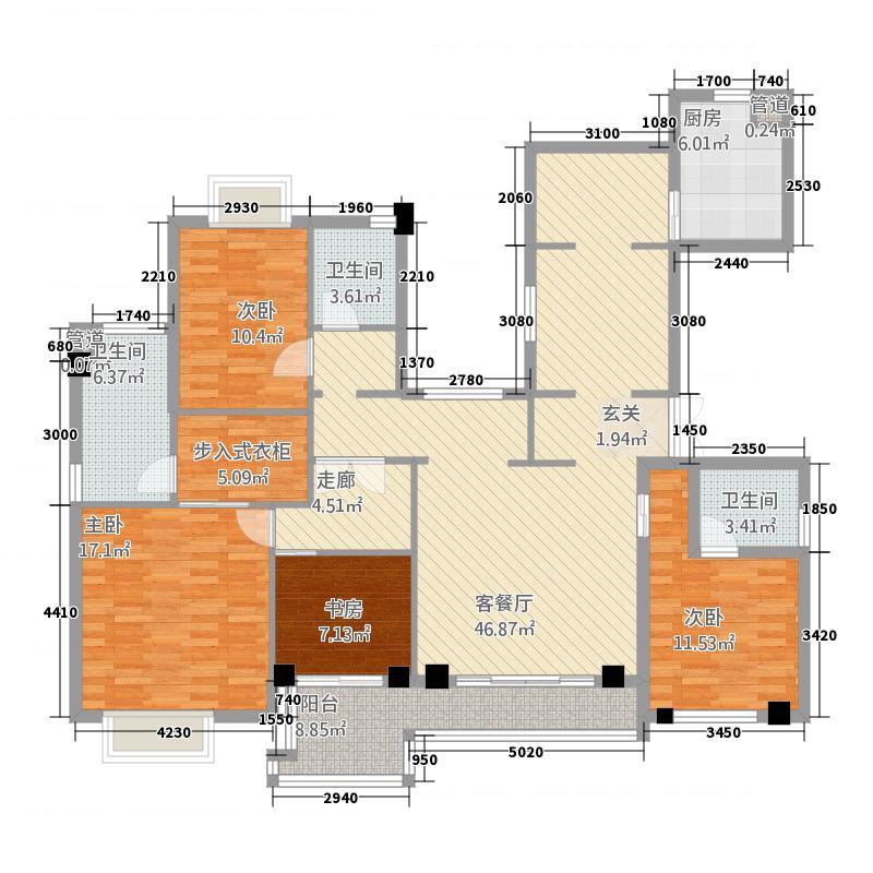 玉环黄金海岸户型4室3厅2卫1厨