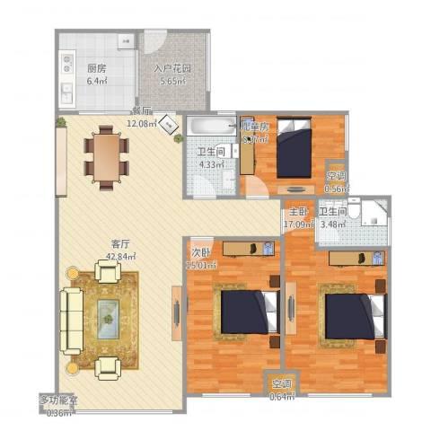 科友・北滨华府3室1厅2卫1厨112.47㎡户型图