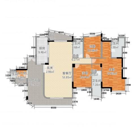 星河传说聚星岛A区3室1厅4卫1厨210.00㎡户型图