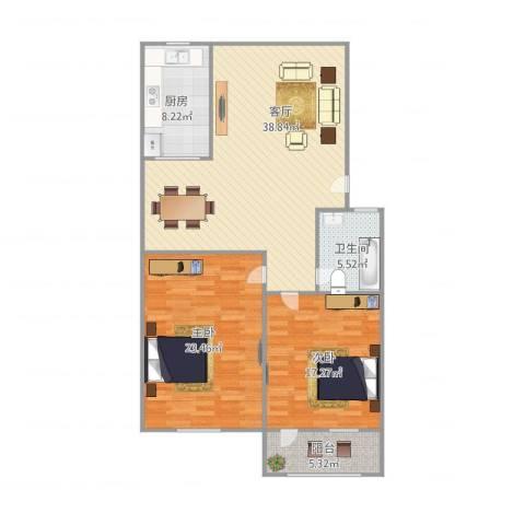 泺安花园2室1厅1卫1厨131.00㎡户型图