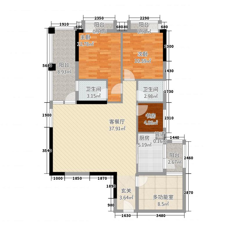 丰盛豪庭135135.20㎡A户型4室2厅2卫1厨