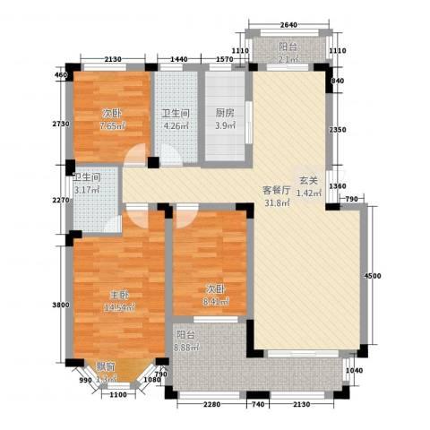 高速秋浦天地3室1厅2卫1厨123.00㎡户型图