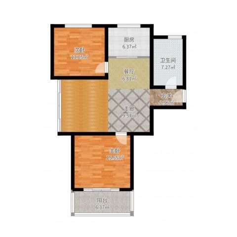欧美世纪花园2室1厅1卫1厨115.00㎡户型图