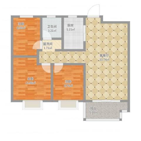 伟星玲珑湾3室1厅1卫1厨109.00㎡户型图
