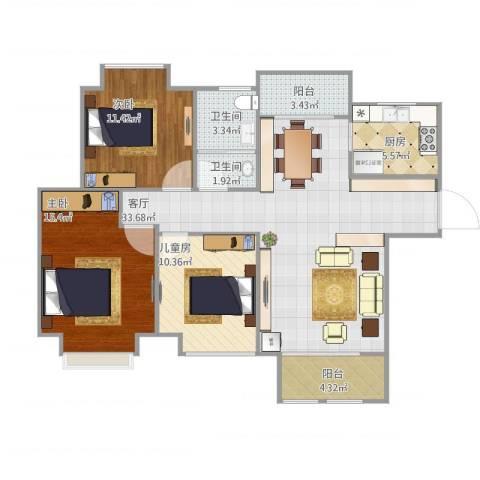 弘阳上城3室1厅2卫1厨121.00㎡户型图
