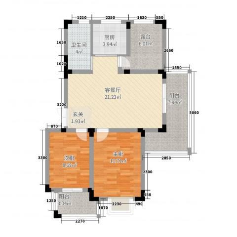 高速秋浦天地2室1厅1卫1厨66.38㎡户型图