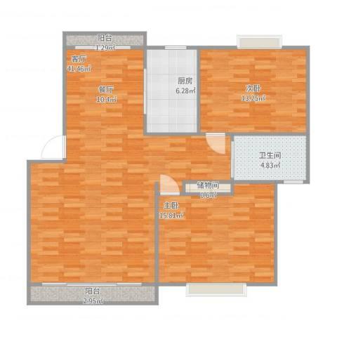 嘉城雅颂湾2室1厅1卫1厨116.00㎡户型图