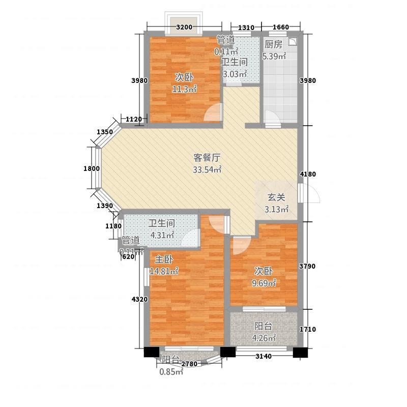 齐鲁涧桥125.46㎡格林威治假日广场1#楼D1户型3室2厅2卫1厨