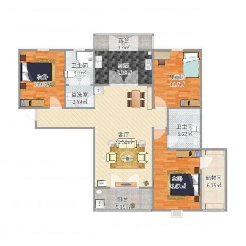 深泽紫晶名门3室2厅2卫1厨140.00㎡户型图