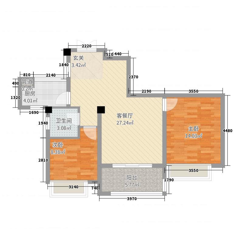 万城御珑湾22.20㎡A2户型2室2厅1卫1厨