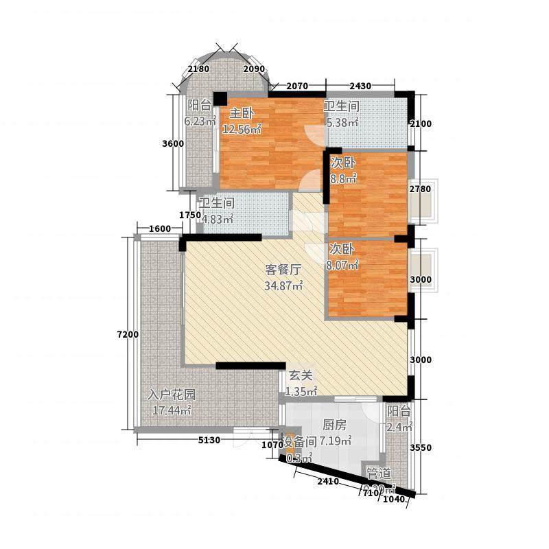 伟达雅郡134.23㎡B-4沁雅居户型3室2厅2卫1厨
