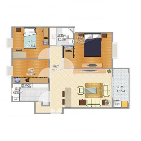 杨浦欣苑3室1厅1卫1厨87.00㎡户型图