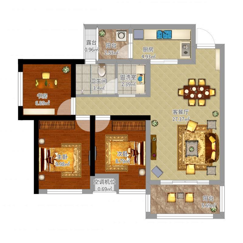 朗基天香106方B3户型三房两厅两卫