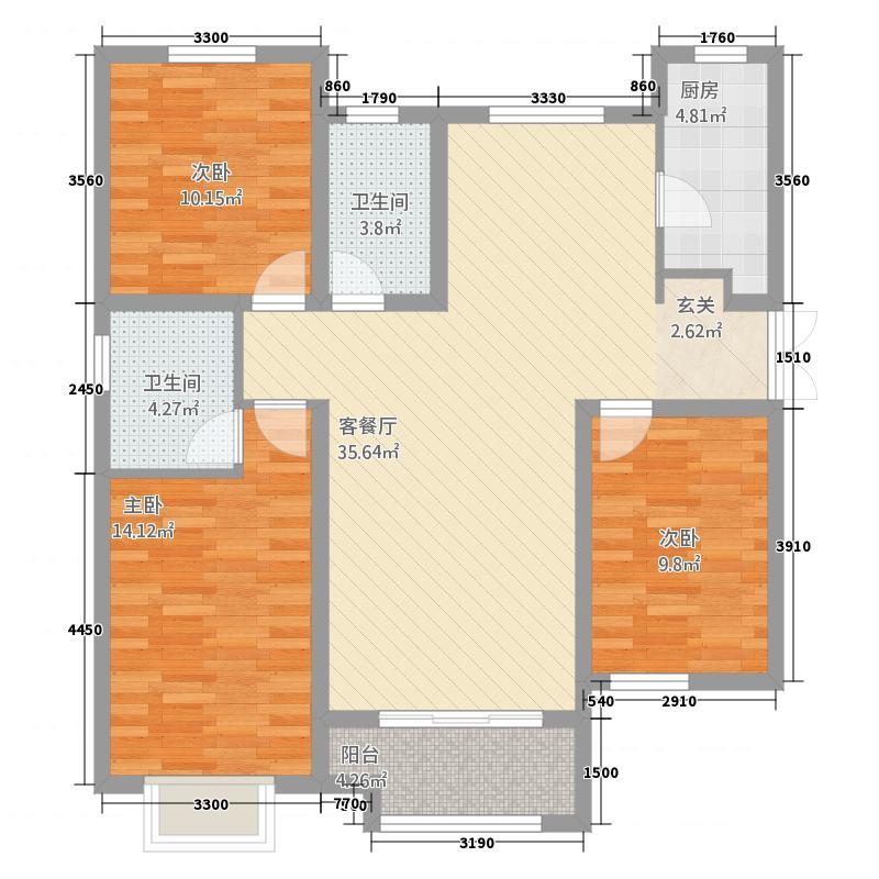 广安云棠23125.52㎡2A户型3室2厅2卫1厨
